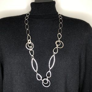 ☘️Stamped Long Silver tone chain necklace
